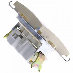Simon 15 1591414-031 - Gniazdo pojedyncze bez bolca uziemiającego z przesłonami torów prądowych - Beżowy - Podgląd zdjęcia 360st. nr 3