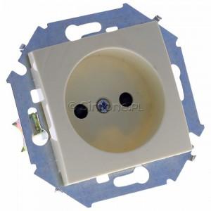 Simon 15 1591414-031 - Gniazdo pojedyncze bez bolca uziemiającego z przesłonami torów prądowych - Beżowy - Podgląd zdjęcia 360st. nr 1