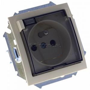 Simon 15 1591940B-031A - Gniazdo hermetyczne pojedyncze do wersji IP44 z bolcem uziemiającym i klapką transparentną - Beżowy - Podgląd zdjęcia 360st. nr 1