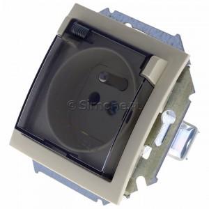 Simon 15 1591940B-031A - Gniazdo hermetyczne pojedyncze do wersji IP44 z bolcem uziemiającym i klapką transparentną - Beżowy - Podgląd zdjęcia 360st. nr 7
