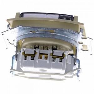 Simon 15 1591940B-031A - Gniazdo hermetyczne pojedyncze do wersji IP44 z bolcem uziemiającym i klapką transparentną - Beżowy - Podgląd zdjęcia 360st. nr 4