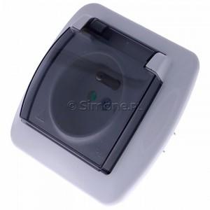 Simon Akord AGZ1Be/11A - Gniazdo hermetyczne pojedyncze z bolcem uziemiającym z klapką transparentną - Biały - Podgląd zdjęcia 360st. nr 7