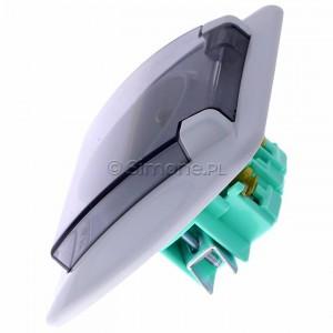 Simon Akord AGZ1Be/11A - Gniazdo hermetyczne pojedyncze z bolcem uziemiającym z klapką transparentną - Biały - Podgląd zdjęcia 360st. nr 6