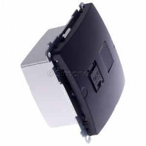 Simon Basic BM61.01/28 - Gniazdo komputerowe pojedyncze 1xRJ45 kat.6 z przesłoną przeciwkurzową - Grafit Mat. - Podgląd zdjęcia 360st. nr 2