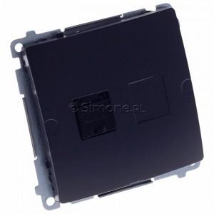Simon Basic BM61.01/28 - Gniazdo komputerowe pojedyncze 1xRJ45 kat.6 z przesłoną przeciwkurzową - Grafit Mat. - Podgląd zdjęcia 360st. nr 1