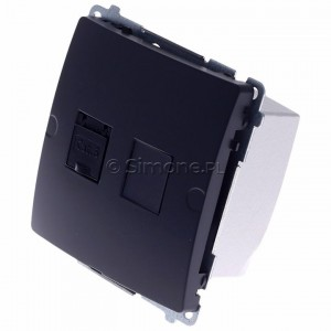 Simon Basic BM61.01/28 - Gniazdo komputerowe pojedyncze 1xRJ45 kat.6 z przesłoną przeciwkurzową - Grafit Mat. - Podgląd zdjęcia 360st. nr 7