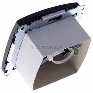 Simon Basic BM61.01/28 - Gniazdo komputerowe pojedyncze 1xRJ45 kat.6 z przesłoną przeciwkurzową - Grafit Mat. - Podgląd zdjęcia 360st. nr 5