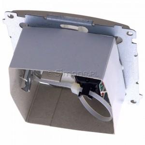 Simon Basic BM61.01/29 - Gniazdo komputerowe pojedyncze 1xRJ45 kat.6 z przesłoną przeciwkurzową - Satynowy Met. - Podgląd zdjęcia 360st. nr 4
