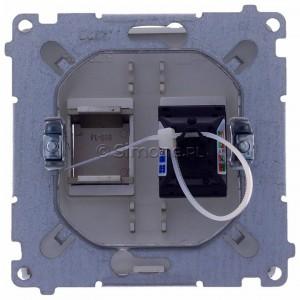 Simon Basic BM61.01/29 - Gniazdo komputerowe pojedyncze 1xRJ45 kat.6 z przesłoną przeciwkurzową - Satynowy Met. - Podgląd zdjęcia 360st. nr 9