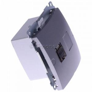 Simon Basic BM61E.01/21 - Gniazdo komputerowe pojedyncze 1xRJ45 kat.6 ekranowane z przesłoną przeciwkurzową - Inox Met. - Podgląd zdjęcia 360st. nr 2