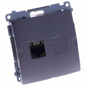 Simon Basic BM61E.01/21 - Gniazdo komputerowe pojedyncze 1xRJ45 kat.6 ekranowane z przesłoną przeciwkurzową - Inox Met. - Podgląd zdjęcia 360st. nr 1