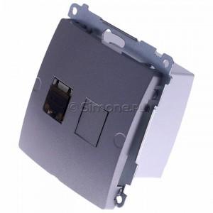 Simon Basic BM61E.01/21 - Gniazdo komputerowe pojedyncze 1xRJ45 kat.6 ekranowane z przesłoną przeciwkurzową - Inox Met. - Podgląd zdjęcia 360st. nr 7