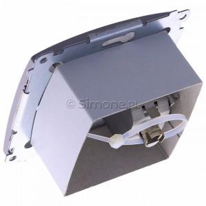 Simon Basic BM61E.01/21 - Gniazdo komputerowe pojedyncze 1xRJ45 kat.6 ekranowane z przesłoną przeciwkurzową - Inox Met. - Podgląd zdjęcia 360st. nr 5