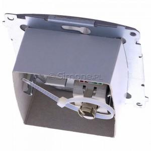 Simon Basic BM61E.01/21 - Gniazdo komputerowe pojedyncze 1xRJ45 kat.6 ekranowane z przesłoną przeciwkurzową - Inox Met. - Podgląd zdjęcia 360st. nr 4