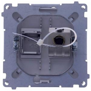 Simon Basic BM61E.01/21 - Gniazdo komputerowe pojedyncze 1xRJ45 kat.6 ekranowane z przesłoną przeciwkurzową - Inox Met. - Podgląd zdjęcia 360st. nr 9