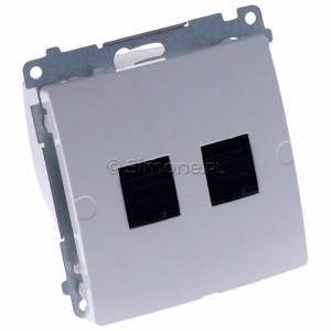 Simon Basic BM62.01/11 - Gniazdo komputerowe podwójne 2xRJ45 kat.6 z przesłoną przeciwkurzową - Biały - Podgląd zdjęcia 360st. nr 1