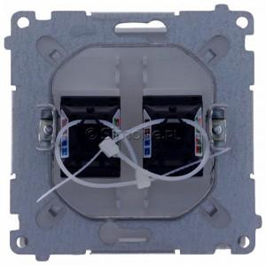 Simon Basic BM62.01/11 - Gniazdo komputerowe podwójne 2xRJ45 kat.6 z przesłoną przeciwkurzową - Biały - Podgląd zdjęcia 360st. nr 9