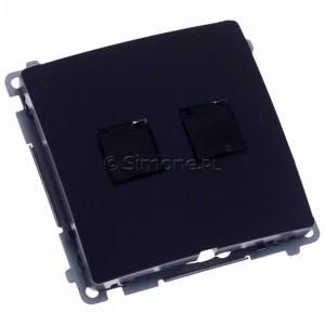 Simon Basic BM62.01/28 - Gniazdo komputerowe podwójne 2xRJ45 kat.6 z przesłoną przeciwkurzową - Grafit Mat. - Podgląd zdjęcia 360st. nr 1