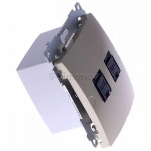 Simon Basic BM62.01/29 - Gniazdo komputerowe podwójne 2xRJ45 kat.6 z przesłoną przeciwkurzową - Satynowy Met. - Podgląd zdjęcia 360st. nr 2