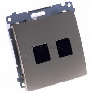 Simon Basic BM62.01/29 - Gniazdo komputerowe podwójne 2xRJ45 kat.6 z przesłoną przeciwkurzową - Satynowy Met. - Podgląd zdjęcia 360st. nr 1