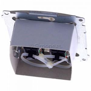 Simon Basic BM62.01/29 - Gniazdo komputerowe podwójne 2xRJ45 kat.6 z przesłoną przeciwkurzową - Satynowy Met. - Podgląd zdjęcia 360st. nr 4