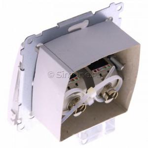 Simon Basic BM62E.01/11 - Gniazdo komputerowe podwójne 2xRJ45 kat.6 ekranowane z przesłoną przeciwkurzową - Biały - Podgląd zdjęcia 360st. nr 5