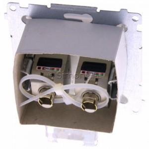 Simon Basic BM62E.01/11 - Gniazdo komputerowe podwójne 2xRJ45 kat.6 ekranowane z przesłoną przeciwkurzową - Biały - Podgląd zdjęcia 360st. nr 4