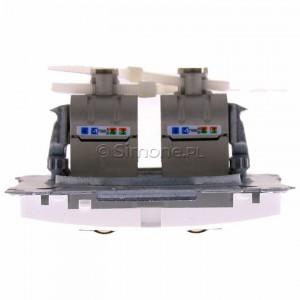 Simon Basic BM62E.01/11 - Gniazdo komputerowe podwójne 2xRJ45 kat.6 ekranowane z przesłoną przeciwkurzową - Biały - Podgląd zdjęcia 360st. nr 8