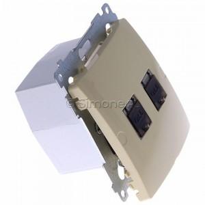 Simon Basic BM62E.01/12 - Gniazdo komputerowe podwójne 2xRJ45 kat.6 ekranowane z przesłoną przeciwkurzową - Beżowy - Podgląd zdjęcia 360st. nr 2
