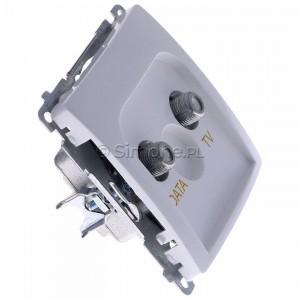 Simon Basic BMAD1.01/11 - Gniazdo antenowe TV-DATA, dwa porty wyjściowe typu F - Biały - Podgląd zdjęcia 360st. nr 2