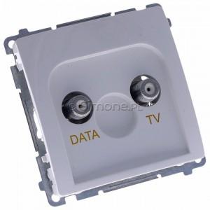 Simon Basic BMAD1.01/11 - Gniazdo antenowe TV-DATA, dwa porty wyjściowe typu F - Biały - Podgląd zdjęcia 360st. nr 1