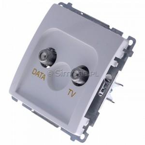 Simon Basic BMAD1.01/11 - Gniazdo antenowe TV-DATA, dwa porty wyjściowe typu F - Biały - Podgląd zdjęcia 360st. nr 7