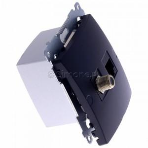 Simon Basic BMAFRJ45.01/28 - Gniazdo antenowe SAT pojedyncze + Gniazdo komputerowe kat.6 - Grafit Mat. - Podgląd zdjęcia 360st. nr 2