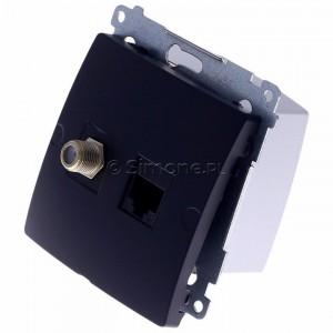Simon Basic BMAFRJ45.01/28 - Gniazdo antenowe SAT pojedyncze + Gniazdo komputerowe kat.6 - Grafit Mat. - Podgląd zdjęcia 360st. nr 7