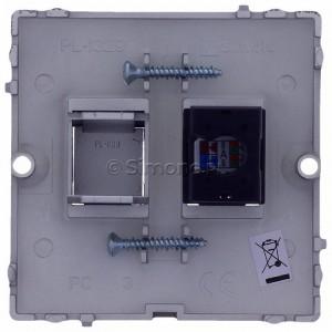 Simon Basic BMF51.02/21 - Gniazdo komputerowe pojedyncze 1xRJ45 kat.5e - Inox Met. - Podgląd zdjęcia 360st. nr 9