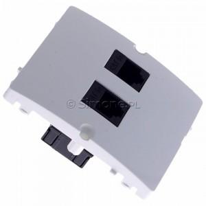 Simon Basic BMF52.02/11 - Gniazdo komputerowe podwójne 2xRJ45 kat.5e - Biały - Podgląd zdjęcia 360st. nr 2