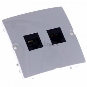Simon Basic BMF52.02/11 - Gniazdo komputerowe podwójne 2xRJ45 kat.5e - Biały - Podgląd zdjęcia 360st. nr 1