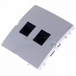 Simon Basic BMF52.02/11 - Gniazdo komputerowe podwójne 2xRJ45 kat.5e - Biały - Podgląd zdjęcia 360st. nr 7