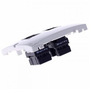 Simon Basic BMF52.02/11 - Gniazdo komputerowe podwójne 2xRJ45 kat.5e - Biały - Podgląd zdjęcia 360st. nr 5