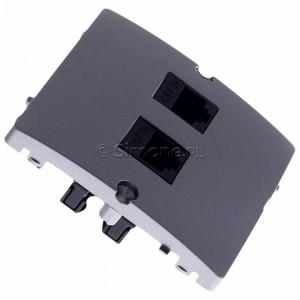 Simon Basic BMF52.02/21 - Gniazdo komputerowe podwójne 2xRJ45 kat.5e - Inox Met. - Podgląd zdjęcia 360st. nr 2