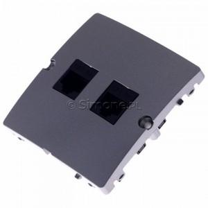 Simon Basic BMF52.02/21 - Gniazdo komputerowe podwójne 2xRJ45 kat.5e - Inox Met. - Podgląd zdjęcia 360st. nr 7