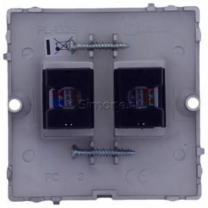 Simon Basic BMF52.02/21 - Gniazdo komputerowe podwójne 2xRJ45 kat.5e - Inox Met. - Podgląd zdjęcia 360st. nr 9