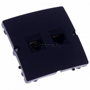Simon Basic BMF52.02/28 - Gniazdo komputerowe podwójne 2xRJ45 kat.5e - Grafit Mat. - Podgląd zdjęcia 360st. nr 1