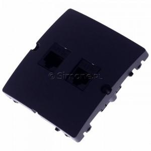 Simon Basic BMF52.02/28 - Gniazdo komputerowe podwójne 2xRJ45 kat.5e - Grafit Mat. - Podgląd zdjęcia 360st. nr 7