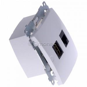 Simon Basic BMGHRJ45.01/11 - Gniazdo HDMI pojedyncze + Gniazdo komputerowe kat.6 - Biały - Podgląd zdjęcia 360st. nr 2