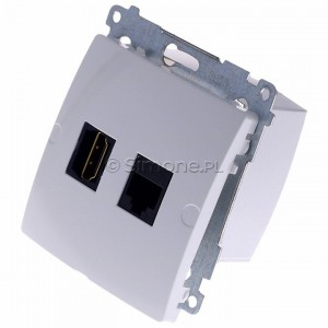 Simon Basic BMGHRJ45.01/11 - Gniazdo HDMI pojedyncze + Gniazdo komputerowe kat.6 - Biały - Podgląd zdjęcia 360st. nr 7