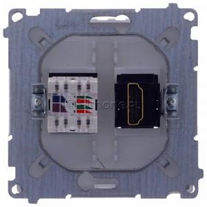 Simon Basic BMGHRJ45.01/11 - Gniazdo HDMI pojedyncze + Gniazdo komputerowe kat.6 - Biały - Podgląd zdjęcia 360st. nr 9