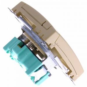 Simon Basic BMGZ1B.01/12 - Gniazdo pojedyncze hermetyczne z bolcem uziemiającym do wersji IP44 z klapką w kolorze wyrobu - Beżowy - Podgląd zdjęcia 360st. nr 3