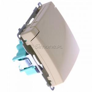 Simon Basic BMGZ1B.01/12 - Gniazdo pojedyncze hermetyczne z bolcem uziemiającym do wersji IP44 z klapką w kolorze wyrobu - Beżowy - Podgląd zdjęcia 360st. nr 2