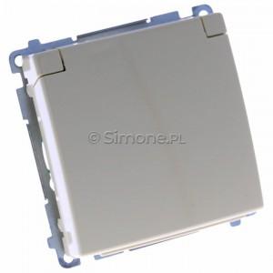 Simon Basic BMGZ1B.01/12 - Gniazdo pojedyncze hermetyczne z bolcem uziemiającym do wersji IP44 z klapką w kolorze wyrobu - Beżowy - Podgląd zdjęcia 360st. nr 1